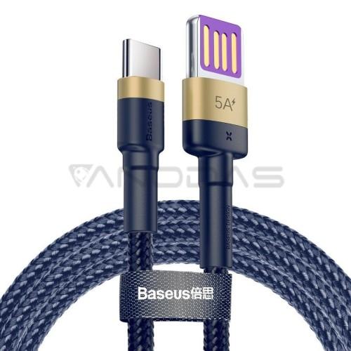 Baseus Cafule USB-C kabelis Huawei SuperCharge QC 3.0 5A 1m - Tamsiai mėlynas / Auksinis