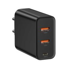 Sieninis įkroviklis Baseus 2xUSB + USB-C greitas įkrovimas QC4.0 PD3.0 60W - Juodas