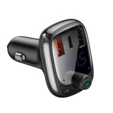 Baseus FM moduliatorius Bluetooth 5.0 2xUSB USB-C PD QC 3.0 microSD