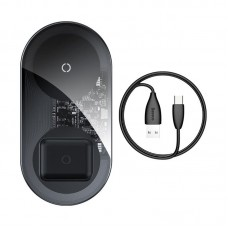 Baseus Simple 2in1 Qi inductive charger for iPhone & ipods 18W - Black