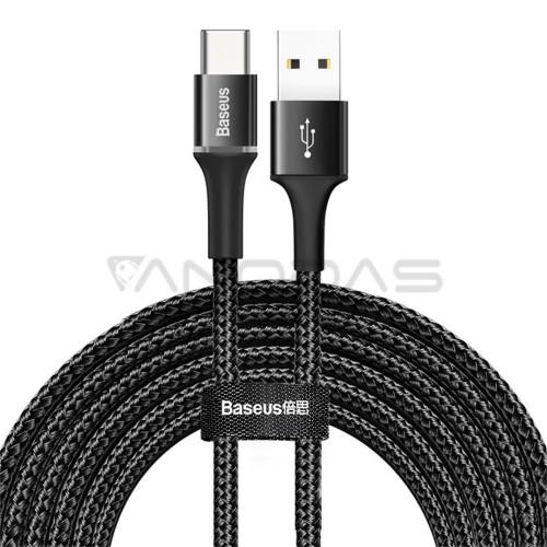 Baseus halo duomenų kabelis USB į Type-C 2A 3m - Juodas