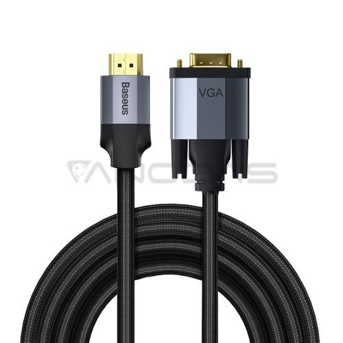Baseus Enjoyment serijos HDMI - VGA kabelis 2m - Tamsiai pilkas