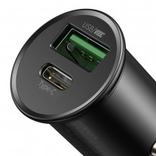 Baseus Circular Metal PPS Quick Charger Car Charger 30W (Support VOOC) - Black