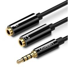 UGREEN 3.5mm Male to Dual 3.5mm Female Headset Splitter - Black
