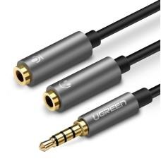 UGREEN 3.5mm Male to Dual 3.5mm Female Headset Splitter - Dark grey