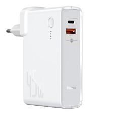 Baseus GaN 2 in 1 Quick Charge Power bank & Charger C + U 10000mAh 45W EU - White