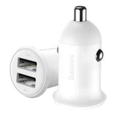 Baseus Grain Pro Car Charger 2x USB 4.8A - White
