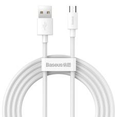Baseus Simple Wisdom Data kabelių rinkinys USB Micro 2.1a (2vnt) 1.5m - Baltas