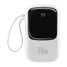 Baseus Qpow 20000mAh Power Bank IP, USB, USB-C, 20W with Lightning Cable - White