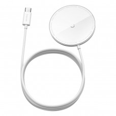 Magnetinis indukcinis belaidis Baseus Simple Mini įkroviklis MagSafe 15W - Baltas