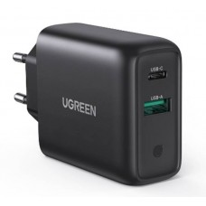 Sieninis įkroviklis UGREEN CD170, USB QC3.0, USB-C PD, 36W - Juodas