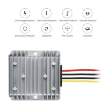 T1224 Waterproof Car Voltage Converter DC 15A 12V To 24V Silver