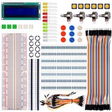 Basic Starter Kit for Arduino UNO R3 Mega2560 Mega328 Nano & Raspberry Pi 3 with Switch Color Led LCD Module Breadboard Resistors and Rotary Potentiometer