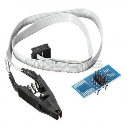 Gnybtas SOP8 SOIC8 mikroschemoms su PCB adapteriu BIOS 24/25/93 programavimui
