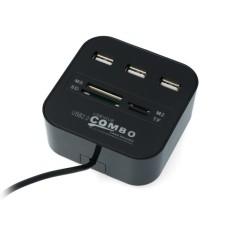 USB 2.0 HUB modulis 3 jungčių su atminties kortelių skaitytuvu