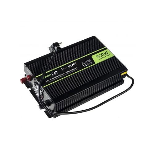 Inverteris 12V/230V 300W/600W sinusinė išėjimo įtampa Green Cell su UPS funkcija
