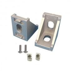 Kampinis laikiklis skirtas 2020 aliuminio profiliams su varžtais ir T formos veržlėmis - 20x20x17mm