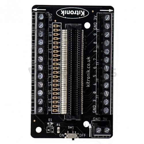 Kitronik išėjimų išplėtimas su prisukamais kontaktai skirtas Micro:bit mikrokompiuteriukui