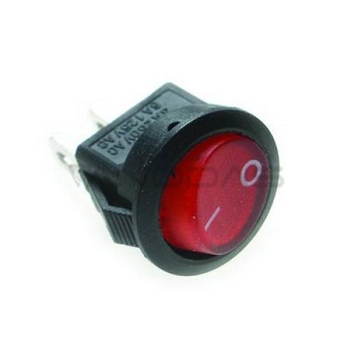 Klavišinis jungiklis ON-OFF SPST 2P 1A 250VAC raudonas