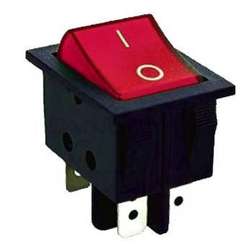 Klavišinis jungiklis ON-ON DPDT 6P 15A 250VAC raudonas