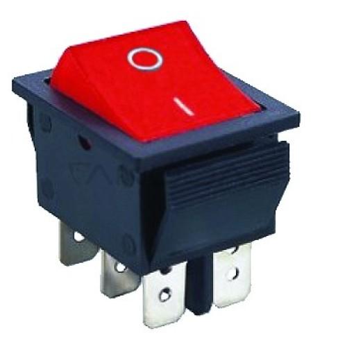 Klavišinis jungiklis ON-ON DPDT 6P 15A 250VAC raudonas su pašvietimu