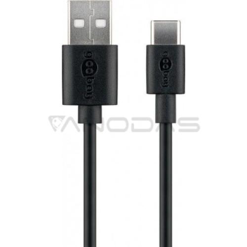 Laidas USB-C USB-A 3.0 juodas 1m