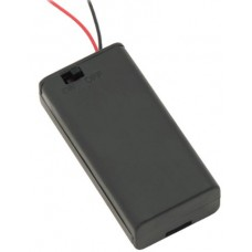 Battery holder 2xAA with lead wire and closed housing + switch