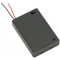 Battery holder 3xAA with lead wire and closed housing + switch