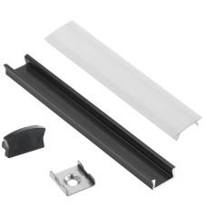 LED juostų aliuminis profilis 2m - juodas
