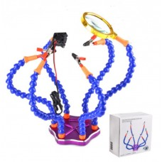 Soldering Work Station 6 Flexible Arms with Precision 360 Degree Alligator Clip USB and Magnifier