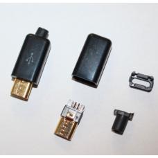 Lituojamas Micro USB Kištukas su korpusu juodas