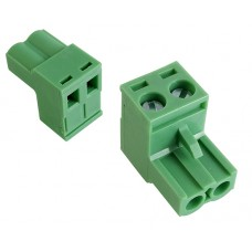 2 poles pitch 5.08mm height 15mm green colour clamp:phosphor bronze.nickel