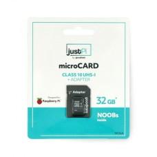 32GB 100 MB/sec Memory card justPi microSD with system NOOBs for Raspberry Pi 4B/3B+/3B/2B
