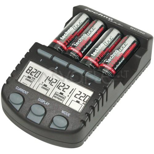 NiCd.NiMH AAA.AA akum.įkroviklis su LCD indikatoriumi BC-700