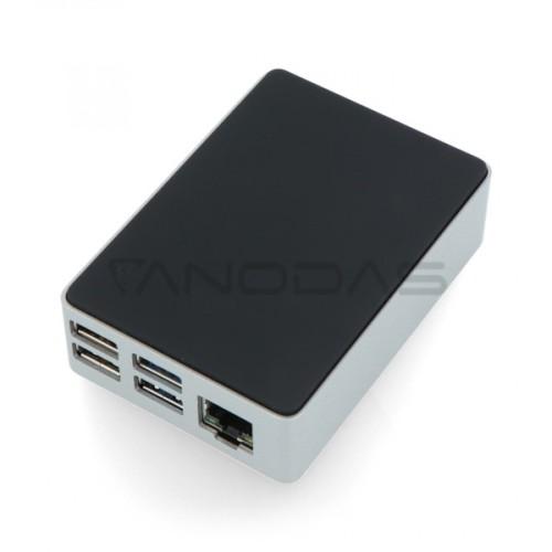 Raspberry Pi 4B juodai-sidabrinė aliumininė dėžutė Flirc
