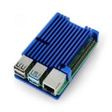 Raspberry Pi 4B aliumininis radiatorius - dėžutė mėlynos spalvos