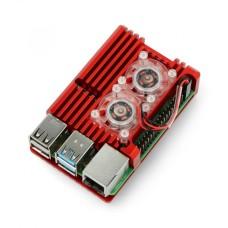 Raspberry Pi 4B aliumininis radiatorius su dviem ventiliatoriais - dėžutė raudonos spalvos