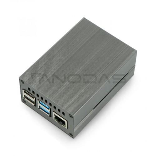 Raspberry Pi 4B metalinė dėžutė su ventiliatoriumi - pilkos spalvos