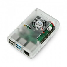 Raspberry Pi 4B korpusas su ventiliatoriumi - skaidrus