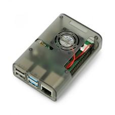 Raspberry Pi 4B korpusas su ventiliatoriumi - pilka
