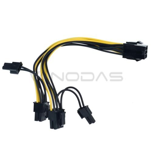PCI-E 6-pin į 2x 6+2-pin 18AWG 20cm laidas