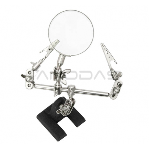 Third hand tool with magnifying glass
