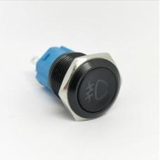 Priešrūkinio žibinto jungiklis be fiksacijos galiniam rūko žibintui su pašvietimu (geltona) DC12-24V 16mm juodas