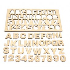 Wooden plywood with an alphabet and numbers 0-9 - 300x150x3mm format - letters