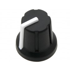 Knob with rubber surface 6mm shaft black/white