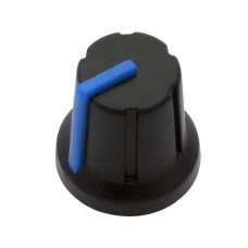 Knob with rubber surface 6mm shaft black/blue