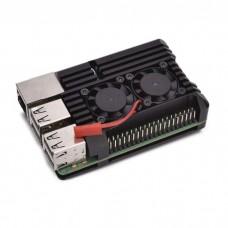 Raspberry Pi 3B aliumininis radiatorius - dėžutė su dviem ventiliatoriais