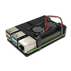 Raspberry Pi 4B aliumininis radiatorius - dėžutė juodos spalvos su dviem ventiliatoriais