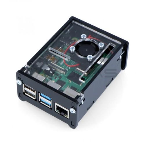 Raspberry Pi 4B dėžutė DIY su ventiliatoriumi - juoda