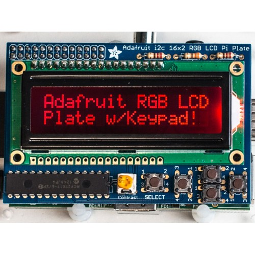 Raspberry Pi Adafruit Ekranas RGB Negatyvas 2x16 LCD + Klaviatūra Komplektas